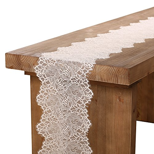 Ling's moment White Lace Table Runner/Overlay Lace Tablecloth Gorgeous Summer & Fall Garden/Forest Theme Wedding Party Decoration Baby & Bridal Shower Decor 12x120 inch