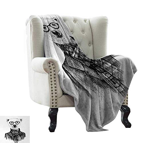 LsWOW Weighted Blanket Animal,Hand Drawn Monochrome Sketch Style Hipster Bear with Jacket Scarf Glasses,Black Grey and White Lightweight Microfiber,All Season for Couch or Bed -