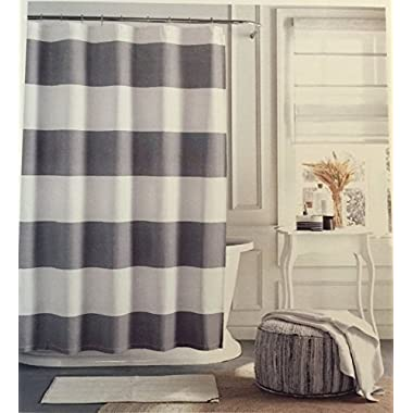 Tommy Hilfiger Cabana Stripe Shower Curtain - Gray and white - 72  X 72