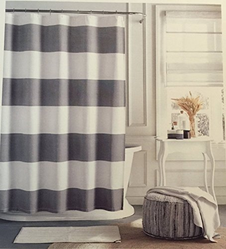 - Tommy Hilfiger Cabana Stripe Shower Curtain - Gray and white - 72