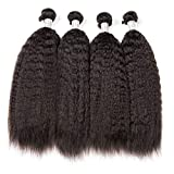 Kinky Straight Hair Bundles Brazilian Hair Weave 1 3 4 Bundles Remy Yaki Human Hair Extensions 8-28 Inch Bundles Deals The rest of my life,24 24 24,Natural Black