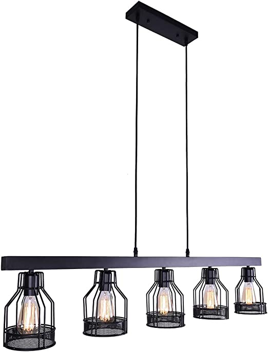 OYIPRO Industrial Kitchen Island Light, 5 Lights Pendant Light Metal Wire  Cage Hanging Lamp Rustic Ceiling Light Fixture E26 Socket