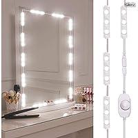 Kit de luces para espejo, GLURIZ Vanity Mirror Lights Kit Juego de luces para espejo 60 LED 3 m IP65 tira de luz LED flexible luz regulable bombillas para cuarto de baño maquillaje cosmético cambiador vestidor, espejo no incluido(60 leds)