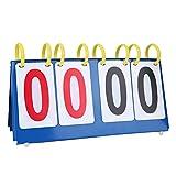 3/4 Digit Flip Sports Scoreboard Score Conuter Portable Scorebook Flip Scorecard for Table Tennis Basketball (4-Digit)