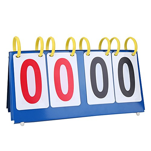 VGEBY1 Table Top Scoreboard, Flip Scoreboard Portable 3/4 Digit Score Board for Table Tennis Basketball(4-Digit)