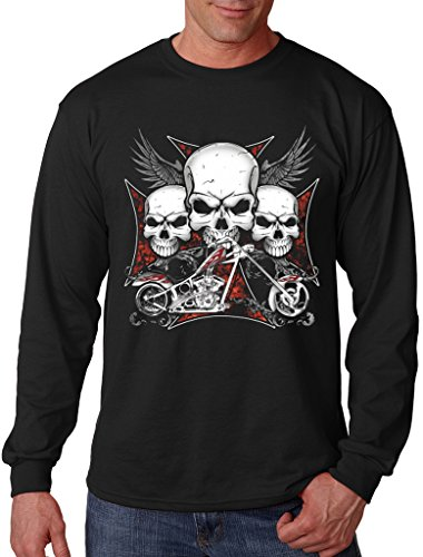 Men's 3 Skull Chopper Biker Black Long Sleeve T-Shirt X-Large ()