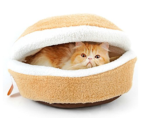 Petforu Hamburger Style Shell Nest Windproof Waterproof Removable Pet Cat Bed House Thermal Hiding (S) (Burger House compare prices)
