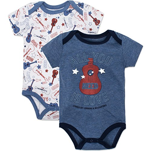 The Beatles Baby Boys' Value Pack Bodysuits, Soft Blue, 18 Months (Baby Beatles Shirt)
