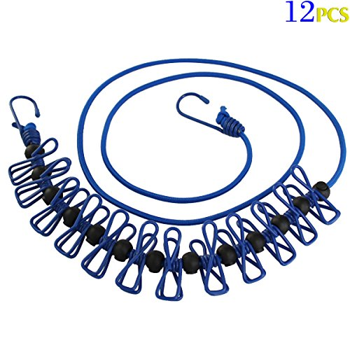 Travel Elastic Clothesline Adjustable Curtains hang rope Clothesline with 12pcs Clothespins