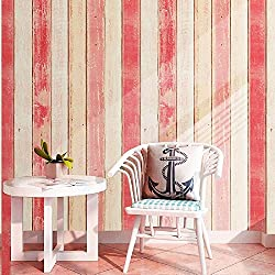 "17.8""(45 cm) X 118""(3 m) Wood Contact Paper Pink Self-Adhesive Decorative Wood Contact Paper Distressed Peel Stick Wallpaper Decor Great for Counter Cabinets Furniture Wall Waterproof Stain-Resistant"