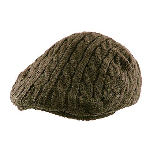 Morehats Crochet Knit Newsboy Cabbie Cap Golf Driving Gatsby Hat - Olive