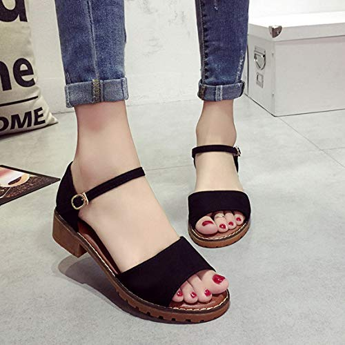Toes Peep Scarpe Donna Sandali alla Cinturino Scarpe Scarpe Bassi Eleganti Tacco Caviglia Scarpe Tacchi Lady Grosso Tacchi con Scarpe Spessi Estate 5BEqnwZq