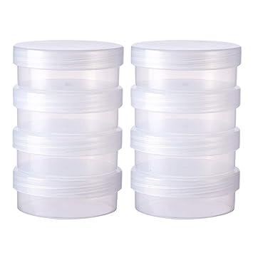 BENECREAT 8 Pack Cajas Redondas de Plástico Esmerilado con Tapas Abatibles para Artículos, Pastillas, Hierbas, Cuentas Pequeñas,Joyería - 6.7x2.6cm: ...