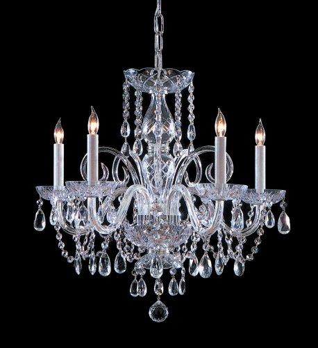 - Polished Chrome / Hand Polished Bohemian Crystal 5 Light Candle Style Chandelier