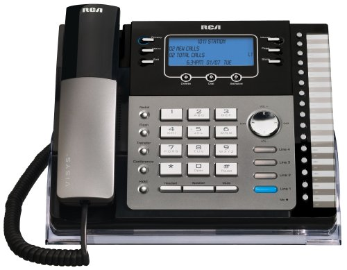 Expandable Corded Business Telephone (RCA 25423RE1 ViSys 4-Line Expandable System Phone with Intercom)