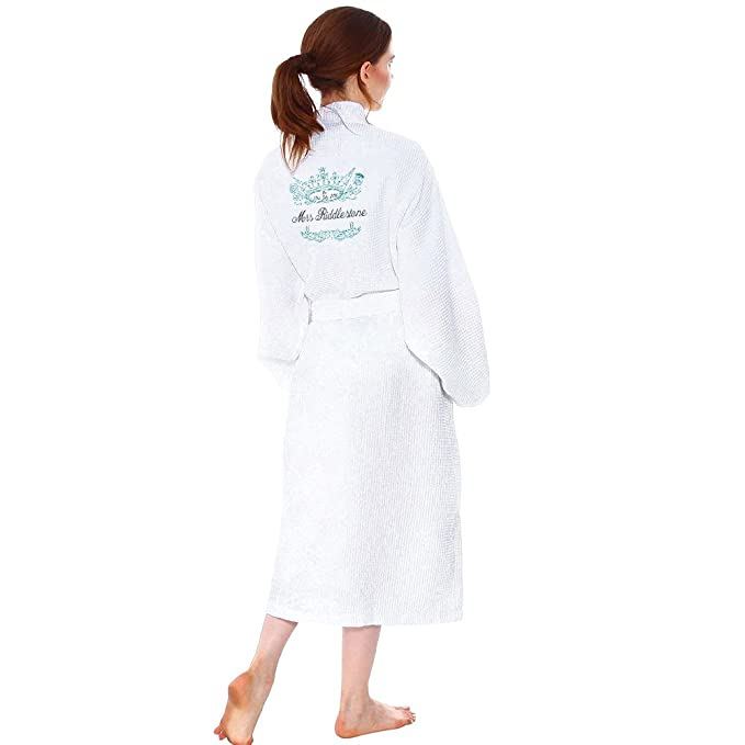 056d2e0d3452 Waffle Personalised Bathrobe with Custom Name Back Embroidery - S/M ...