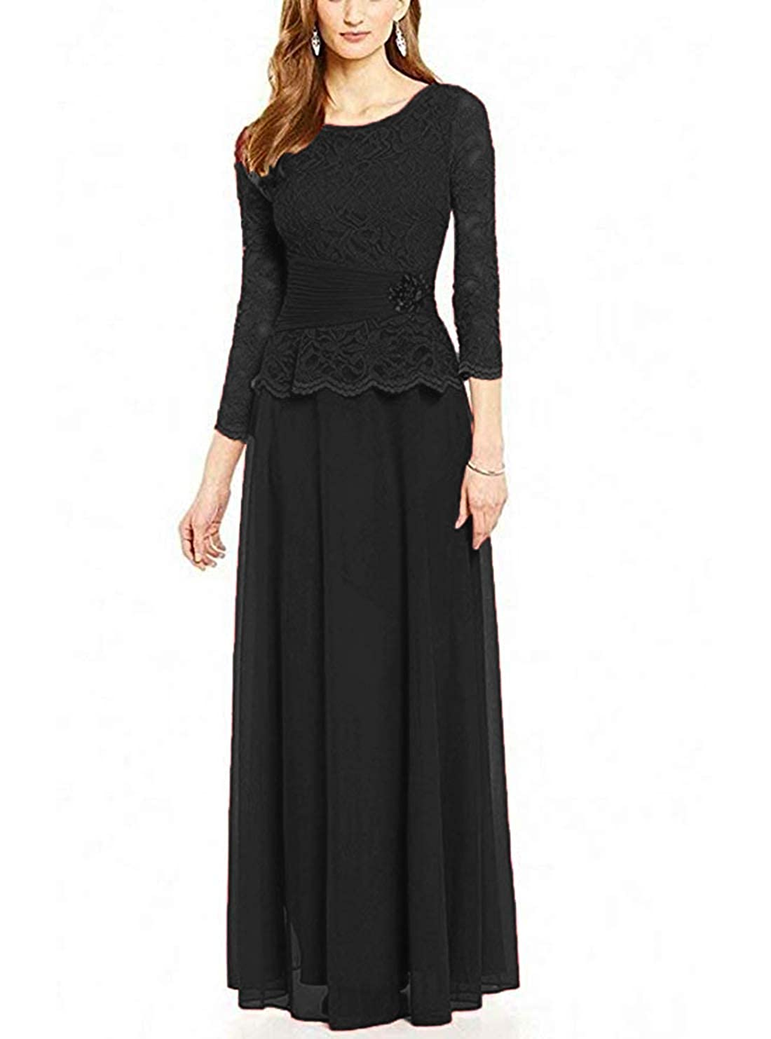a87b57505711 Black Evening Dress With 3 4 Sleeves - raveitsafe