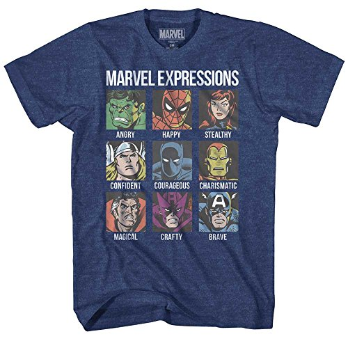 Avengers Expression Moods Spider-Man Hulk Thor Iron Man Black Panther Strange America Mens Adult Graphic Tee T-Shirt (Navy Heather, X-Large)