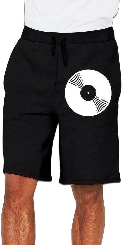 Mens Vinyl Record Jogger Shorts Gym Short