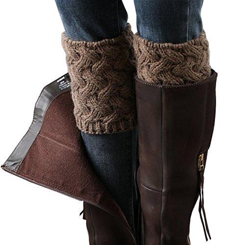 Desen Women's Crochet Leg Warmers Winter Cable Knit Boot Cuffs (Brown Crochet)