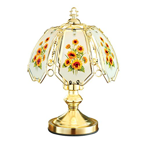 Collections Etc Sunflowers Décor Bedside Touch Lamp with Gold-Tone Base, Artistic Glass Shade