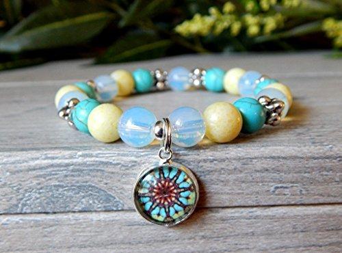 Beaded Bracelet Semi-Precious Gemstone Turquoise Lime Opal Opalite Mandala Charm Boho Bohemian Jewelry