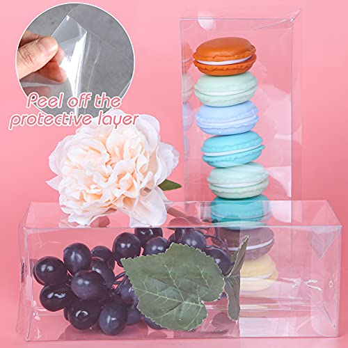 VGoodall Clear Favor Boxes, 32 PCS Plastic Gift Boxes Transparent Cube Boxes PET Boxes for Wedding, Party, Baby Shower, Bridal Shower