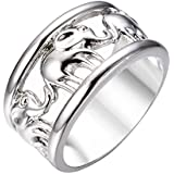 Silver Lucky Elephant Wedding Ring 10KT White Gold Filled Wide Band Size 6-11#by pimchanok shop (9)