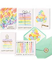 100 Happy Birthday Cards, Assorted Watercolor & Gold Foil Blank Birthday Notes Pack, Bulk Boxed Assortment Set of Greeting Note Cards w/ Envelopes & Stickers