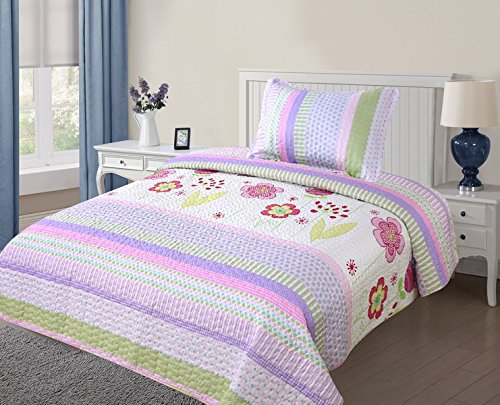 MB Collection Purple, White, Flowers, Green leave 2 Piece Kids Bedspread Quilts Set Throw Blanket for Teens Girls Bed Printed Bedding Coverlet, Purple Floral Striped # Quilt Twin Size 07 by MB Home Linen