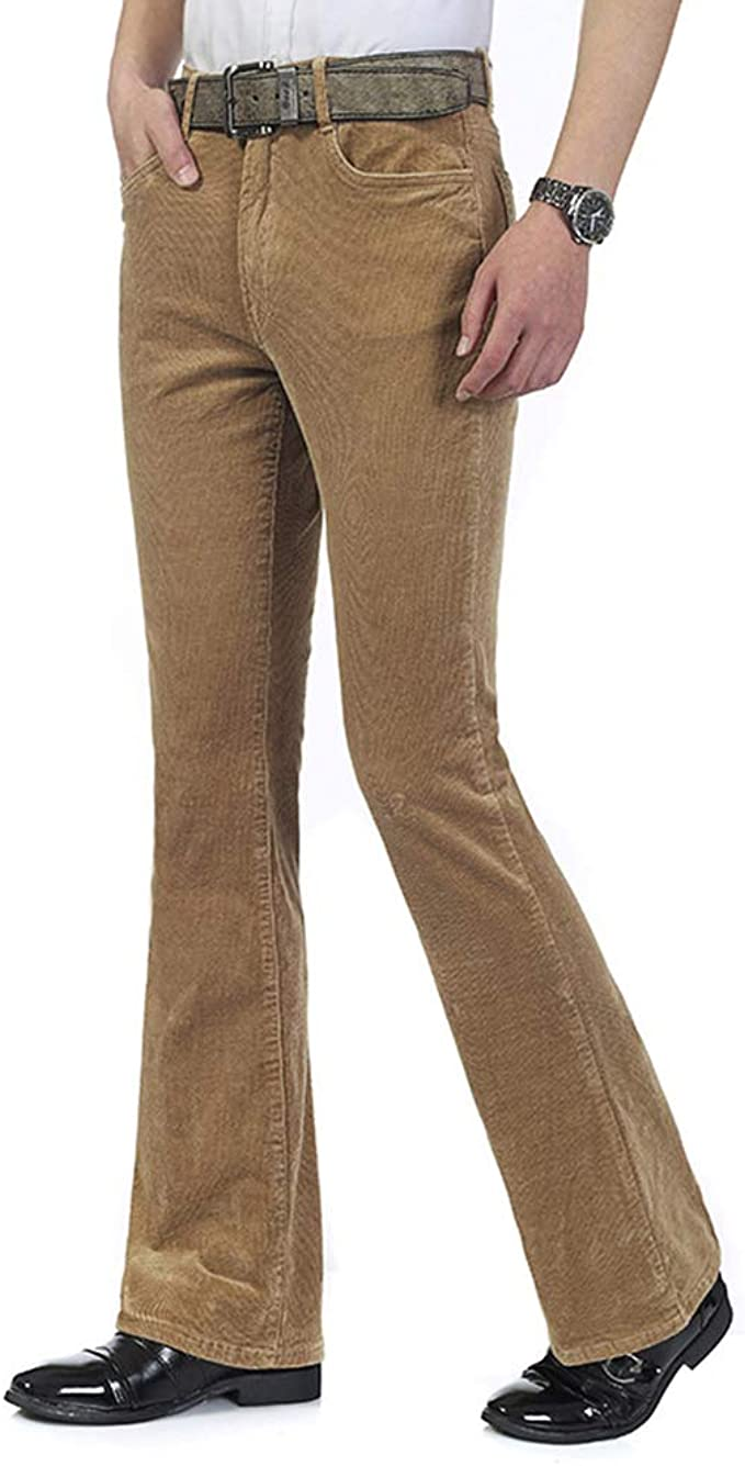 Hippie Pants, Jeans, Bell Bottoms, Palazzo, Yoga HAORUN Men Corduroy Bell Bottom Flares Pants Slim Fit 60s 70s Vintage Bootcut Trousers $34.99 AT vintagedancer.com