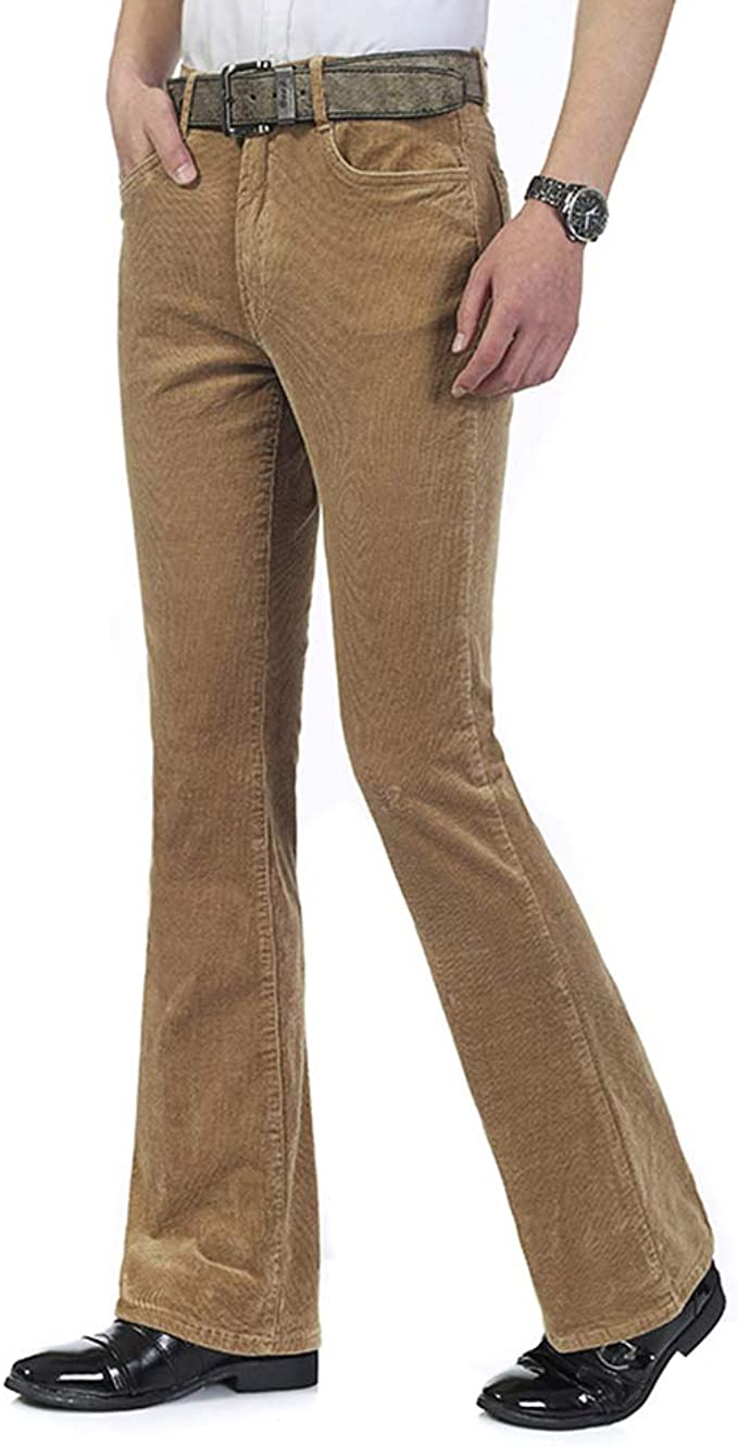 Men's Vintage Pants, Trousers, Jeans, Overalls HAORUN Men Corduroy Bell Bottom Flares Pants Slim Fit 60s 70s Vintage Bootcut Trousers $34.99 AT vintagedancer.com