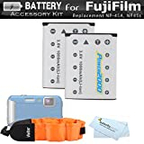 2 Pack Battery Kit For Fujifilm FinePix XP70, XP80, XP90, XP120 Waterproof Digital Camera Includes 2 Extended Replacement (1000Mah) For Fuji NP-45A, NP45s Batteries + Floating Strap + Cleaning Cloth