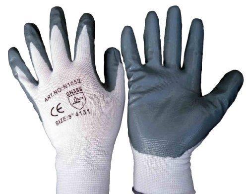 12 Pairs Of Nitrile Coated Nylon Work Gloves Size 9 EU ELITE SUPPLIES