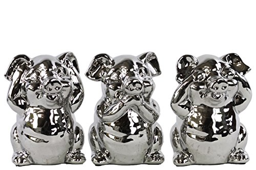 Urban Trends Ceramic Standing Pig No Evil (Hear/Speak/See) Figurine with Polished Chrome Finish (Assortment of 3), Silver