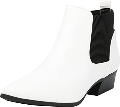 0fb1b769abba Cambridge Select Women s Closed Pointed Toe Western Chunky Low Heel Ankle  Bootie