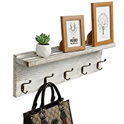 Entryway OROPY Rustic Entryway Coat Rack Shelf 23.6″ Length, Solid Wood Wall Mounted Coat Rack with 5 Hooks and Display Shelf for Hallway, Bathroom, Living Room, Bedroom, Kitchen Storage, Rustic White
