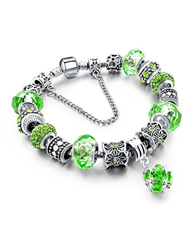 Hot And Bold Green Murano Glass Beads Snake Chain Heart Charm Strand Fashion Jewellery Bracelet.
