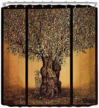 YOLIYANA Tree of Life The Shower Curtain,Triptych of an Old Mature Olive Tree Mediterranean Greece Style Nature Graphic Decor Utility Shower Curtain,70.8