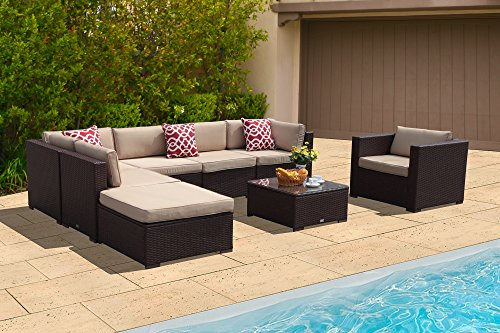 PATIOROMA Outdoor Patio Furniture Sectional Sofa Set (8-Piece Set) All-Weather Brown Wicker Furniture with Beige Cushions,Glass Coffee Table & Red Throw Pillow| Patio, Backyard, Pool|Steel Frame Brown Sectional Set
