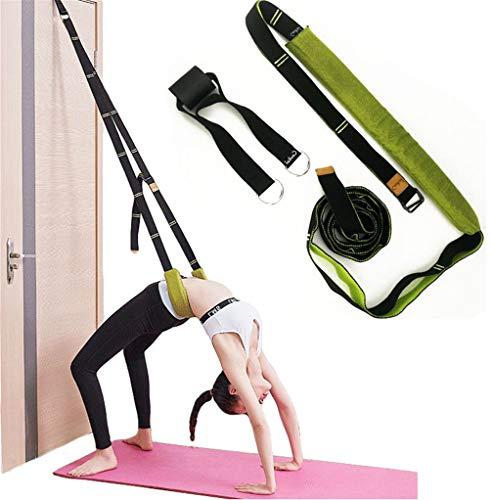 Yoga Waist Back Stretch Band - Door Flexibility Tensile Multifunction Assist Training, Yoga Leg Stretcher Strap w/ Door Anchor, for Fitness, Dance, Yoga, Gymnastics, Cheerleading, Splits (Green)