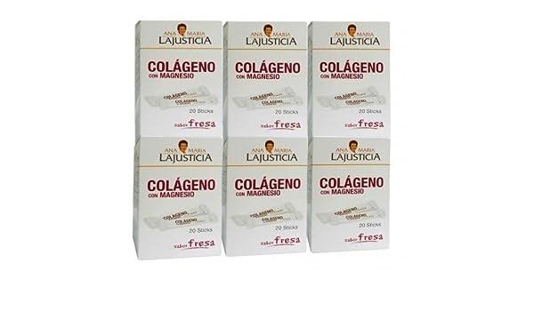 COLAGENO con MAGNESIO SABOR FRESA 20 STICK ANA MARIA LAJUSTICIA - pack-6colageno-magnesio-sticks: Amazon.es: Salud y cuidado personal