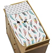 Sweet Jojo Designs Feather Collection Girls Baby Changing Pad Cover