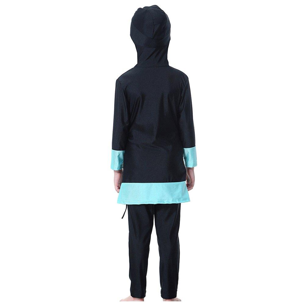 Islamic Muslim Kids Girls Arab Modest Swimwear Full Cover Swimsuit Beachwear New