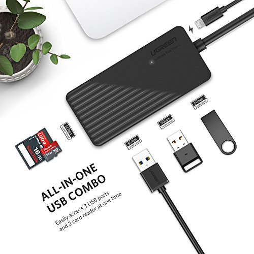 UGREEN USB Card Reader Hub 3 Ports USB 3.0 SD TF Card Adapter Hub Combo for MacBook Pro Air, Windows Surface Pro, iMac, PCs and Laptops Support Compact Flash Memory Cards Black by UGREEN (Image #1)