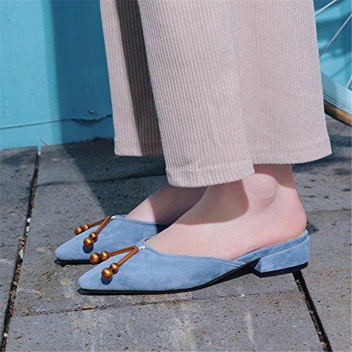 3 de FangYOU1314 Cuero para Color de 38 bajo EU Medio Zapatillas 2 Relleno tacón con Rosado Azul Mujeres tamaño de Deporte vrYqUwr1