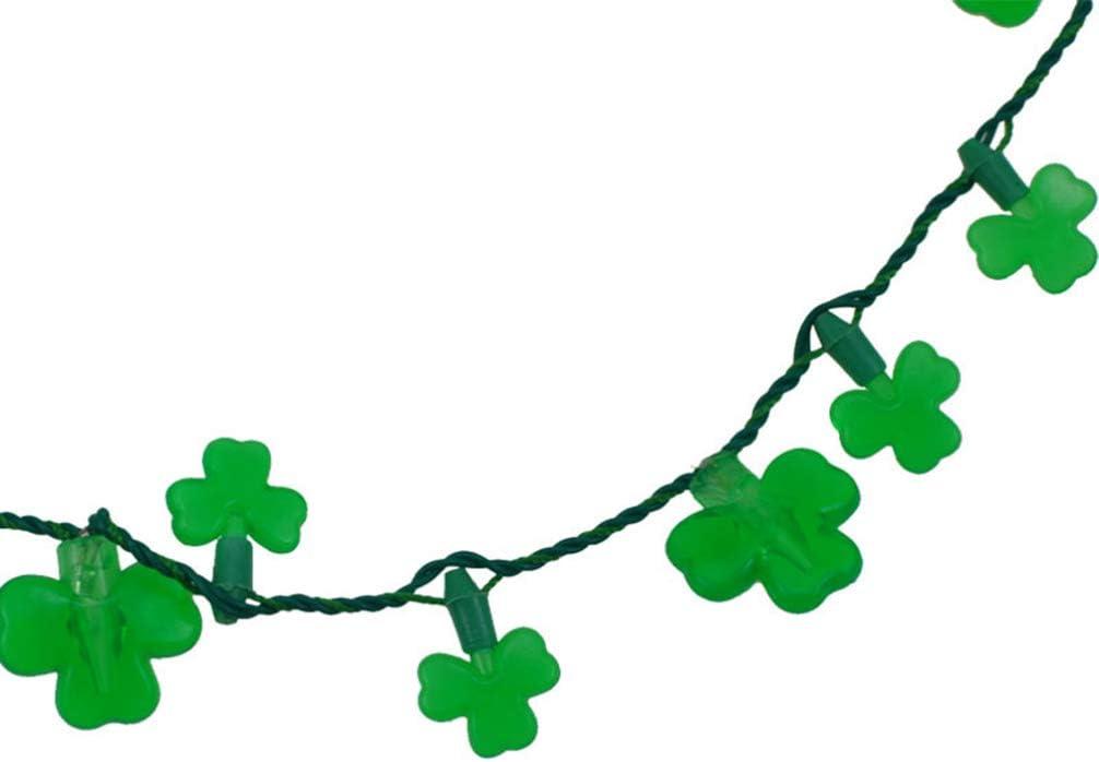 Patricks Day Glowing Necklace Lichterketten f/ür Irish Festival Carnivals Party Amosfun LED Leuchten Kleeblatt Halskette Anh/änger St