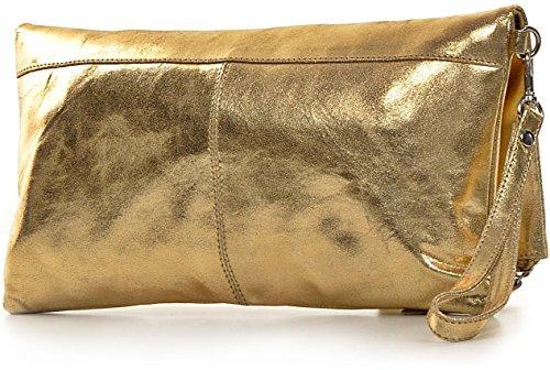 CNTMP - bolso para señora, clutch, bolso clutch,bolso de cuero metálico, bolsos de tendencia, bolsas, bolso de fiesta, bolso de mano, 32 x 17 x 2, 5 cm (l x an x a) Dorado