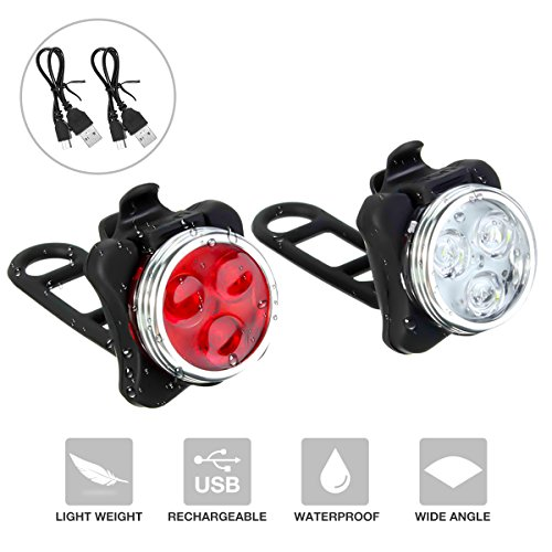 SOKLIT USB Rechargeable Bike Light Front and Rear Waterproof IPX4 Super Bright Bicycle LED Light Set 120 Lumen with 650mah Lithium Battery, 4 Light Mode Options, Including 2 USB cables and 6 Strap