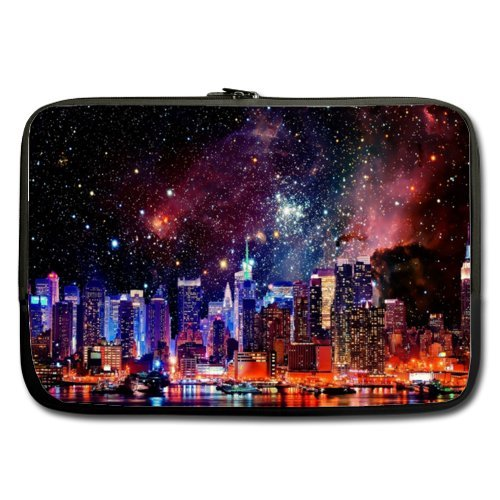 WECE 13 Inch Nebula Galaxy Space Universe Laptop Sleeve, New York City Skyscrapers Skyline Buildings Theme Portable Laptop Carrying Case Sleeve Bag for Macbook, Macbook Air/Pro 13